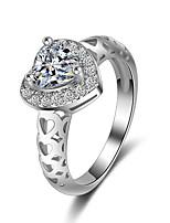 Bague Bague de fiançailles Zircon cubique Cœur Mode Elegant Zircon Forme de Coeur Bijoux Pour Mariage Soirée 1 Set