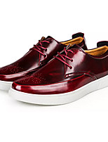 Men's Sneakers Comfort PU Spring Fall Outdoor Lace-up Flat Heel Burgundy Black Under 1in