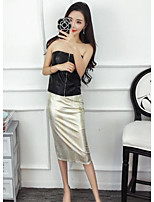 Women's Casual/Daily Sexy Street chic Blouse Skirt Suits,Solid Boat Neck Sleeveless
