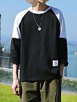 Men's Casual/Daily Sweatshirt Solid Color Block Round Neck Micro-elastic Cotton Short Sleeve Spring Winter