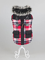 Dog Coat Dog Clothes Casual/Daily Keep Warm Plaid/Check Ruby Brown