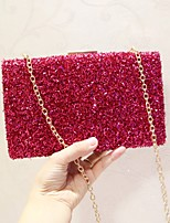 Women Evening Bag PU All Seasons Event/Party Party & Evening Club Baguette Sequined Magnetic Fuchsia Gold