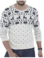 Для мужчин Повседневные Шинуазери (китайский стиль) Короткий Пуловер С животными принтами,V-образный вырез Длинный рукав Смесь хлопка