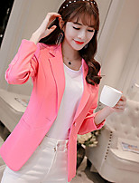 Women's Work Simple Spring Fall Blazer,Solid Notch Lapel Long Sleeve Regular Polyester Spandex