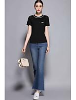 Mujer Chic de Calle Primavera Verano T-Shirt Pantalón Trajes,Escote Redondo Manga Corta Microelástico