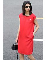 Ample Tee Shirt Robe Femme Décontracté / QuotidienCouleur Pleine Col Arrondi Au dessus du genou Sans Manches Coton Eté Taille Normale