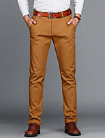 Men's Mid Rise Micro-elastic Chinos Business PantsSimple Slim Solid CR-7103