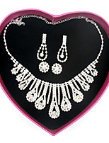 Wedding Jewelry Set  2 Earrings Women's Anniversary Engagement  Birthday Gift Party Alloy Rhinestone Waterdrop Jewelry Sets