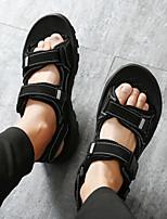 Men's Sandals Comfort PU Summer Fall Casual Comfort Flat Heel Blue Brown Black 1in-1 3/4in