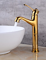 CentersetCeramic ValveTi-PVD , Bathroom Sink Faucet