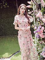 Feminino Solto Vestido,Para Noite Simples Floral Decote V Longo Manga Curta Acrílico Verão Cintura Média Micro-Elástica Fina