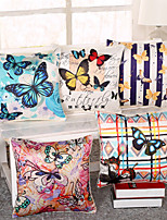 Set Of 5 Emulation Silk Butterfly Printing Pillow Cover Fashion Pillow Case