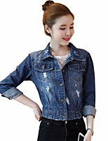 Women's Going out Simple Spring Denim Jacket,Solid Shawl Lapel Long Sleeve Short Others
