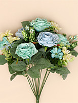 Artificial Flower Rose Silk Rose Bouquet Wedding Decor Real Touch Flower Bridal Bouquet Home Party Decor(11 head)