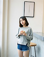 Women's Going out Simple T-shirt,Solid Round Neck Long Sleeve Cotton