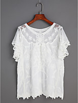 Women's Daily Casual Going out Cute Shirt,Solid Lace Round Neck Short Sleeve Cotton