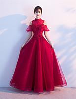 Торжественное мероприятие Платье А-силуэт Вырез под горло В пол Тюль с Бусины