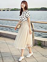 Для женщин На каждый день Лето Как у футболки Платья Костюмыпросто Однотонный С короткими рукавами