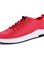 Men's Sneakers Comfort PU Spring Fall Casual Comfort Lace-up Flat Heel Red Navy Blue Black Flat