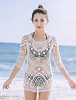 Damen Lose Hülle Kleid-Festtage Ausgehen Strand Sexy Retro Einfach Solide Rundhalsausschnitt Mini 3/4 ÄrmelBaumwolle Kunstseide Netz