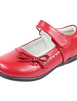 Girls' Flats Comfort Cowhide Spring Fall Outdoor Casual Walking Magic Tape Low Heel Red Black White Flat