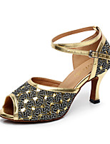Women's Dance Shoes Leather Sparkling Glitter Latin Sandals Heels Stiletto Heel Indoor