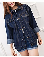 Women's Casual/Daily Simple Spring Denim Jacket,Solid Stand 3/4 Length Sleeve Long Cotton