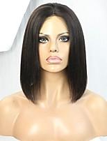 Short yaki bob 10 polegadas cabelo humano laço peruca dianteira com nódulos branqueados