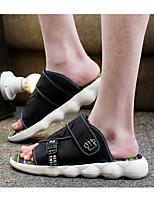 Men's Slippers & Flip-Flops Comfort Fabric Spring Casual Comfort Blue Gray Black Flat