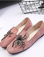 Для женщин Мокасины и Свитер Полиуретан Весна Черный Розовый Хаки На плоской подошве