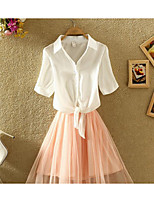 Women's Casual/Daily Going out Simple Cute Summer Shirt Skirt Suits,Solid Shirt Collar Short Sleeve
