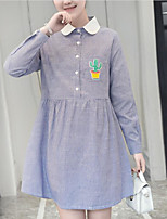 Women's Plus Size Going out Casual/Daily Simple Loose Dress,Solid Geometric Round Neck Above Knee Long Sleeve Cotton Spring Fall Mid Rise