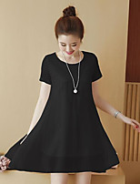 Women's Casual/Daily Simple Loose Dress,Solid Round Neck Mini Short Sleeve Polyester Summer Mid Rise Inelastic Thin