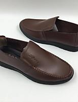 Для мужчин Мокасины и Свитер Удобная обувь Полиуретан Весна Повседневный Черный Темно-русый На плоской подошве