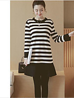 Women's Casual/Daily Simple Sweater Dress,Striped Round Neck Mini Long Sleeve Cotton Spring Mid Rise Micro-elastic Medium