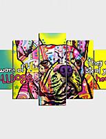 Stampe a tela Moderno Stile naturalistico Art déco/Retrò,Cinque Pannelli Orizzontale Stampa Decorazioni da parete For Decorazioni per la