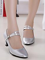 Women's Latin Leather Heels Beginner Low Heel Fuchsia Silver Black Gold Customizable