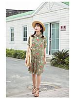 Women's Plus Size A Line Dress,Print Round Neck Knee-length ½ Length Sleeve Wool Spring Low Rise Micro-elastic Medium