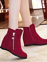 Для женщин Ботинки Босоножки Полиуретан Весна Осень Повседневный На толстом каблуке Черный Коричневый Красный 2,5 - 4,5 см