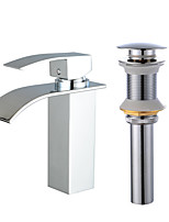 Centerset Waterfall One Hole for  Electroplated , Bathroom Sink Faucet