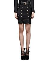 PUNRAVE Q-316 Women's Party Club Vintage Street chic Punk Gothic Shiny Metallic Sexy Military Uniform Half Skirts