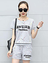 Women's Going out Casual/Daily Simple Active Summer T-shirt Pant Suits,Letter Round Neck Short Sleeve