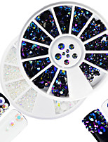 2pcs/set Fashion White&Laser Flame Mixed Size Shining Resin Jelly Rhinestone Decoration Nail Art Round Disc Glitter Rhinestone DIY Beauty