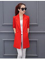 Women's Daily Simple Spring Fall Blazer,Solid Notch Lapel Long Sleeve Long Others