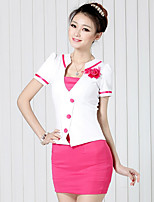 Women's Casual/Daily Simple Shirt Dress Suits,Solid Deep V Short Sleeve Rivet strenchy