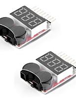2 paquets rc lipo contrôleur de batterie contrôleur d'alarme vérificateur alarme de sonnerie basse tension avec indicateur led pour 1-8s