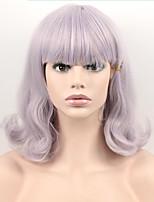 Short Grey Color Short Wavy Wig Synthetic High Temperature Fiber For Cosplay Wig
