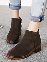 Для женщин Ботинки Удобная обувь Полиуретан Весна Повседневный Черный Кофейный На плоской подошве