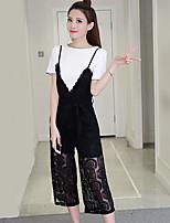 Damen einfarbig Einfach Chinoiserie Ausgehen Lässig/Alltäglich T-Shirt-Ärmel Hose Anzüge,Rundhalsausschnitt Sommer Kurzarm