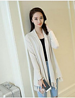 Women's Casual Long Cashmere,Solid Boat Neck Long Sleeve Cotton Spring Fall Medium Micro-elastic